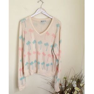 Wildfox nude pink teal blue palm printed jumper
